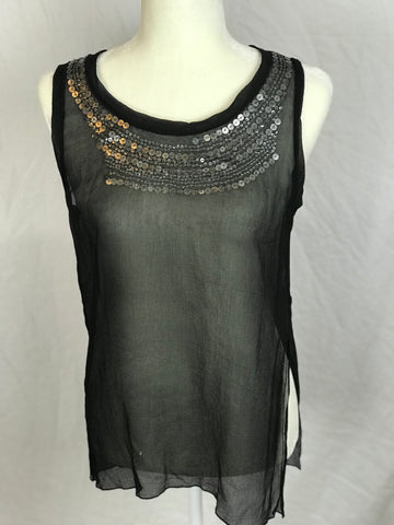 Velvet – 100% Silk Sequined Detailed Sheer Blouse - Sz Medium