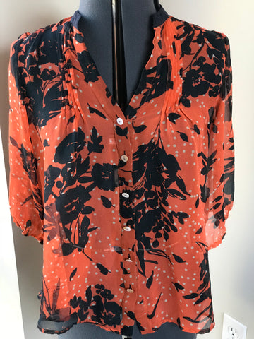Orange and Navy Sheer Blouse - HEART 'n' SLEEVE
