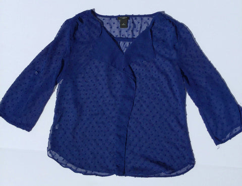 Ann Taylor -  Dotted Detailing 3/4 Sleeve Blouse - Sz Petite Small - HEART 'n' SLEEVE