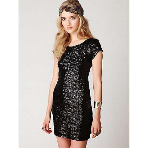 Free People – Black Sequined Stretch Dress w/Low Cut Back - Sz 4 - HEART 'n' SLEEVE