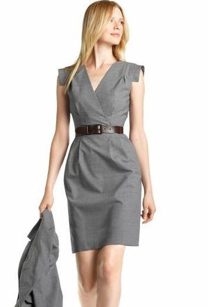 Banana Republic Wool Stretch Capsleeve Grey Dress - Sz 6 - HEART 'n' SLEEVE