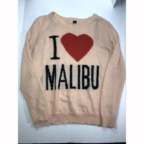 """I Heart Malibu"" Wool Blend Long Sleeve Sweater - Sz L - HEART 'n' SLEEVE"