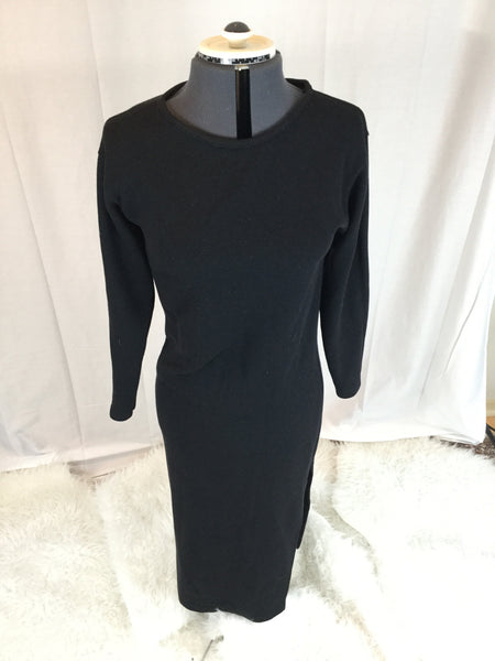 Express Express  Stretch Long Sleeve plain Black dress with high twisted slit - HEART 'n' SLEEVE