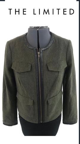 The Limited - Leather Trim Four Pocket Military Zip Up Jacket - Sz Small
