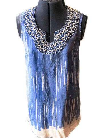 100% Silk Tunic Dress Blouse w/Beaded Detailing - Sz M