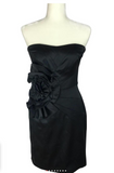 White House Black Market - Strapless Black Dress w/Floral Fabric Accent - Sz 4