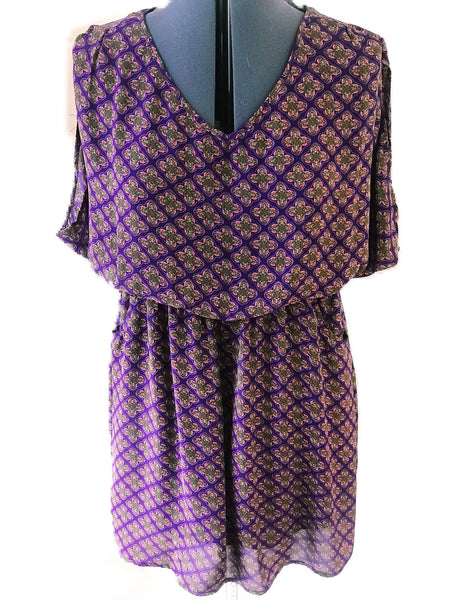Umgee - Boho Butterfly Sleeve Elastic Waist Flowy Dress - Sz Small