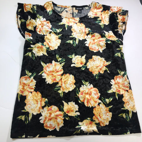 a.n.a. - Velvet Like Floral Flutter Short Sleeve Blouse - Sz Medium