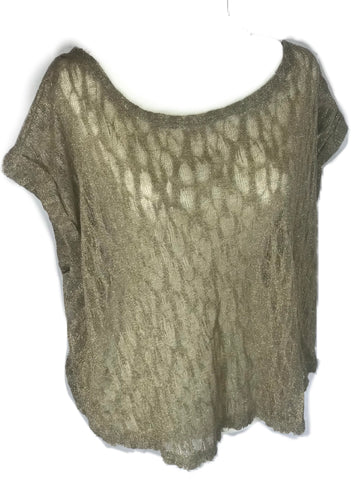 Zara – Gold Metallic Off the Shoulder Blouse - Sz Medium