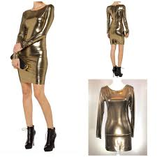 Alice & Olivia - Long Sleeve Bodycon Gold Sparkle Dress - Sz 6 - HEART 'n' SLEEVE