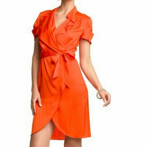 Banana Republic - Orange Red Silk Dress - Sz 2 - HEART 'n' SLEEVE