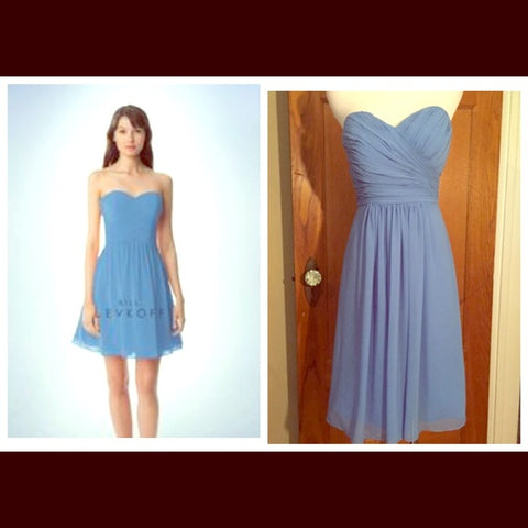 Bill Lev Blue Strapless Bridesmaid Dress