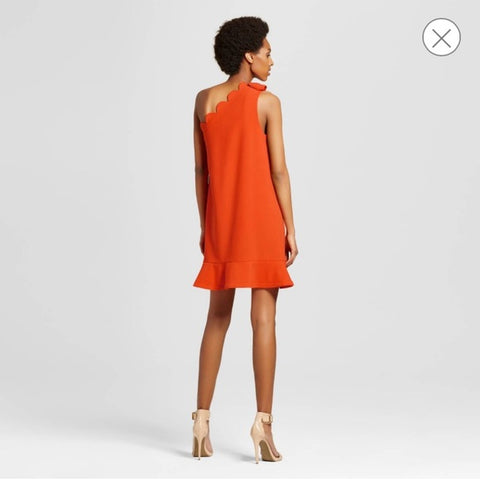 Victoria Beckham - One Shoulder Bow Scallop Trim Ruffle Dress - Sz Large