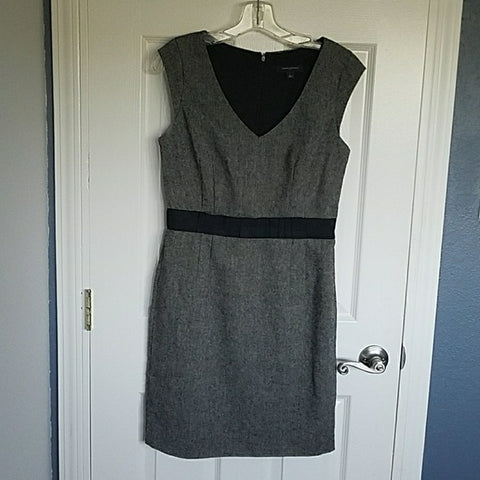 Banana Republic Grey Wool Dress Lace Waist