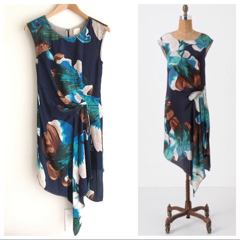 Coquille Blue White Tropical Floral Watercolor Silk Tunic Dress - Sz 6