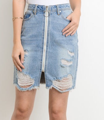 Natalie-Denim Distressed Skirt