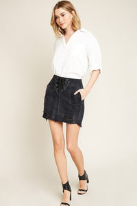 Hayden Lace Up Denim Skirt