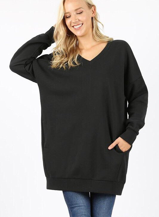 Kels - Oversized V Neck Sweatshirt
