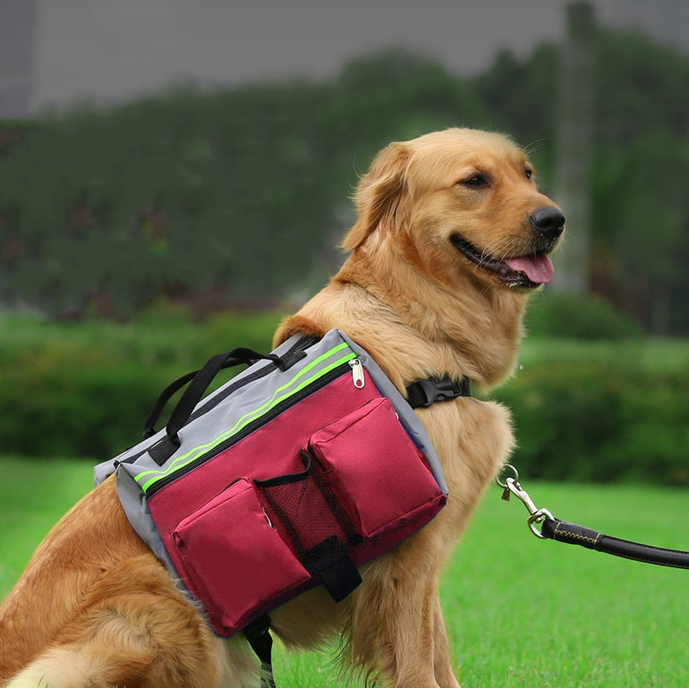 a49cc30c81 Adjustable Dog Backpack for Hiking Saddle Bag with 4 Packets ...