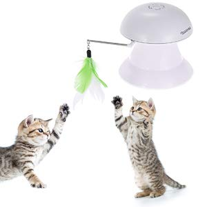 Cat Laser Toy, 2 in 1 Auto-rotating Light&Feather Non-handheld Cat Toy