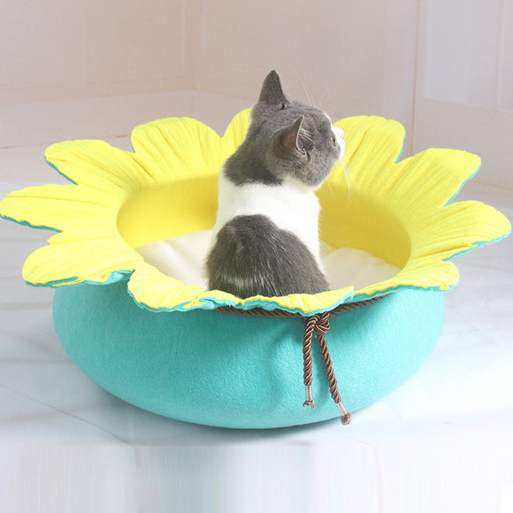 Flower Shape Cat Sleeping Bed Felt Dog Kennel Kitten Puppy Soft Pet Mat Cushion