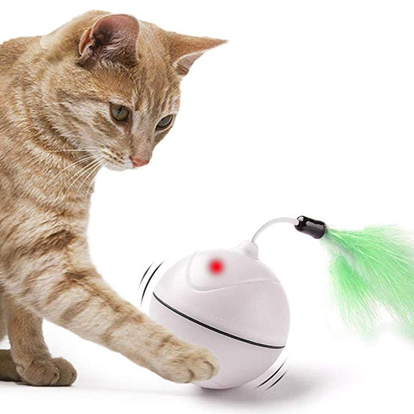 Interactive Electric Feathers Pet Cat Balls, Auto-Rolling&USB Charging