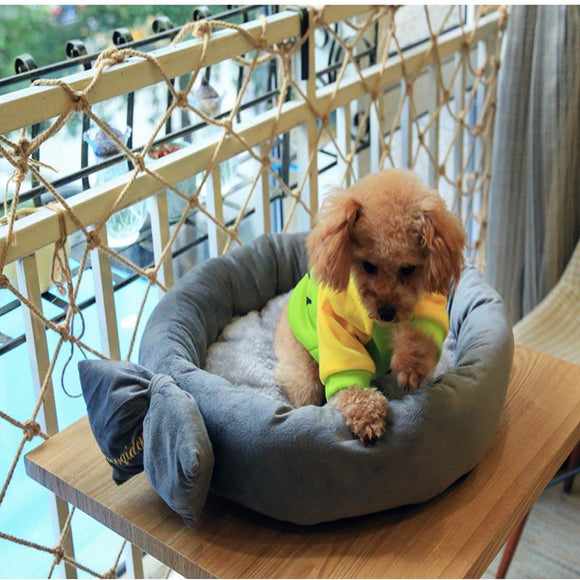 Tie Design Round Dog Bed