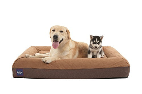 Memory Foam Large Dog Bed,Durable Water Proof Liner & 4 Pillows Design