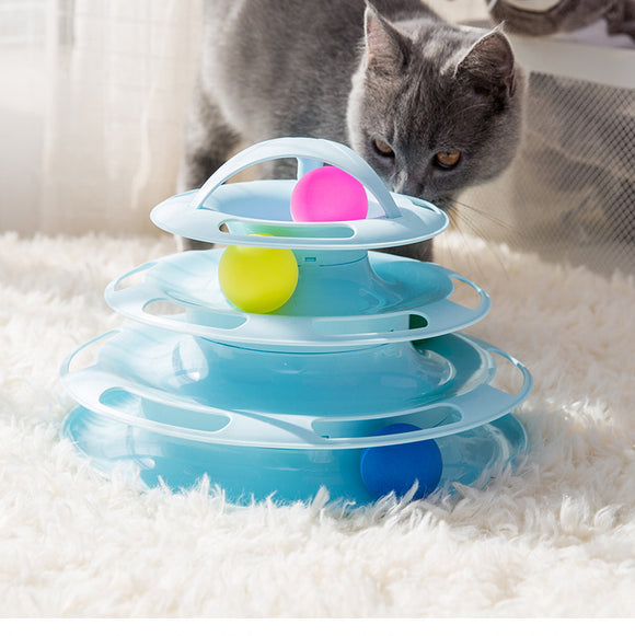 4 Level Interactive Tower of Tracks Ball Cat Toys