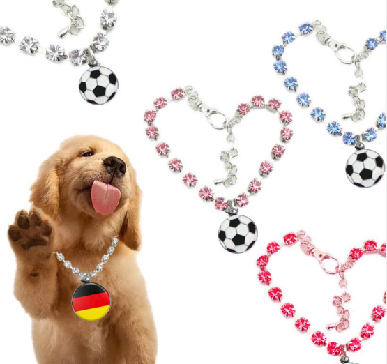 Dog collar with soccer/national flat pendant (10 countries available)