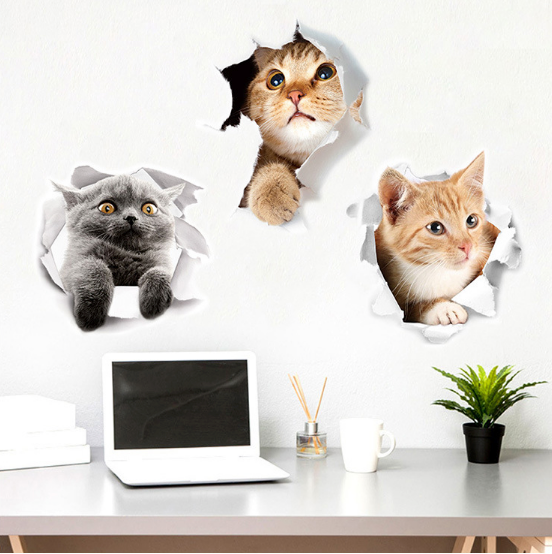 Neat 3D Cat Art Stickers Home Decoration (set of 3)