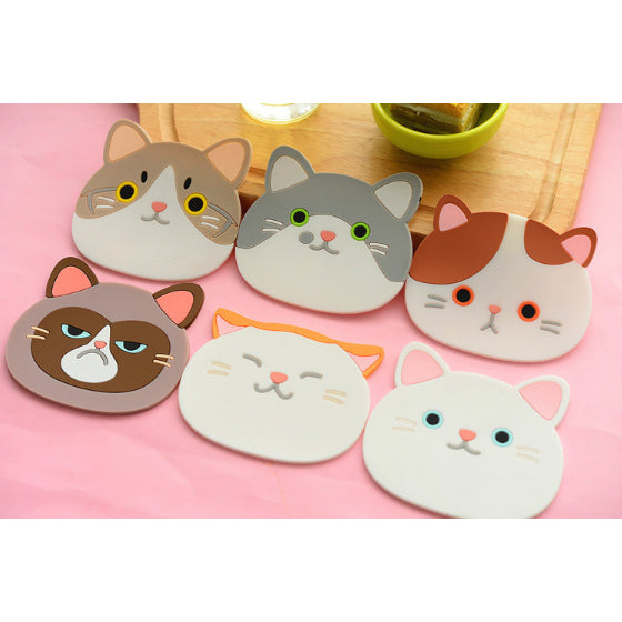 Cat Face Coasters – Pack of 6