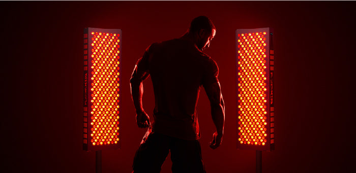 Man getting red light therapy