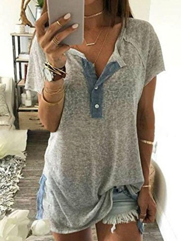 Solid Paneled Short Sleeve Sexy T-Shirt