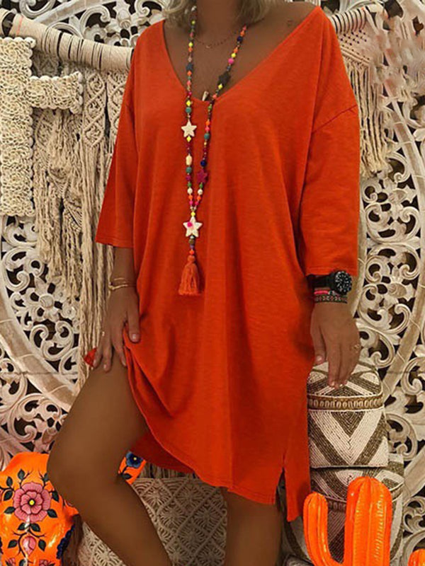Orange Shift Casual Cotton Solid Fall Dress