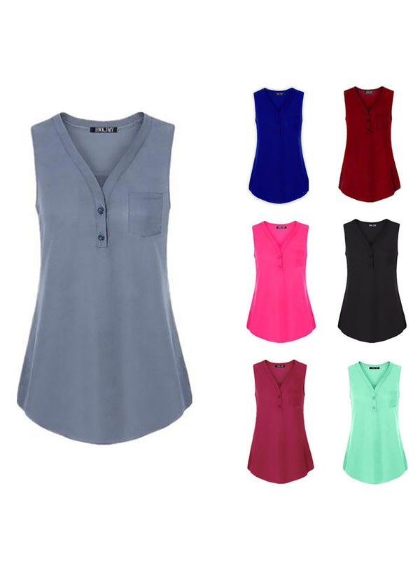 Buttoned Sleeveless Pockets Solid V Neck Tank