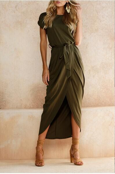 Short Sleeve Solid Slit High Low Maxi Dress