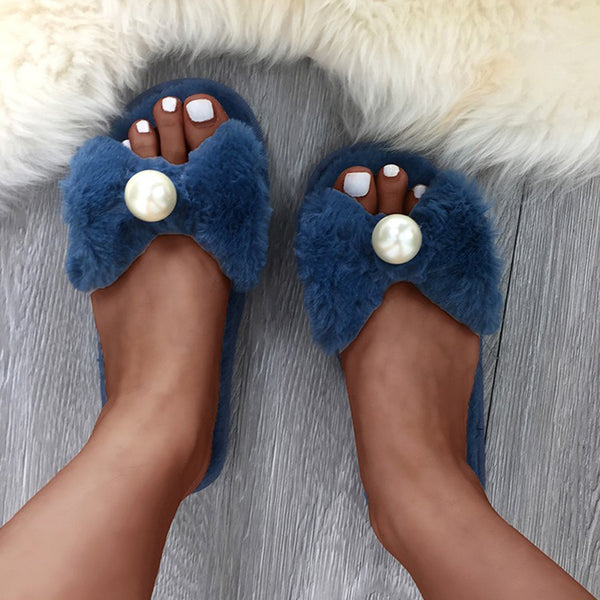 Women Faux Fur Slippers Casual Bownot Peep Toe Shoes