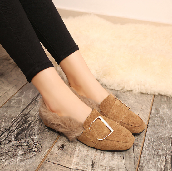 Plus Size Brown Spring/Fall Flat Heel Suede Fur Casual Loafers
