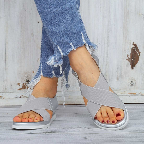 Comfy Sole Slip On Sandals Elastic Textile Splicing Sandals