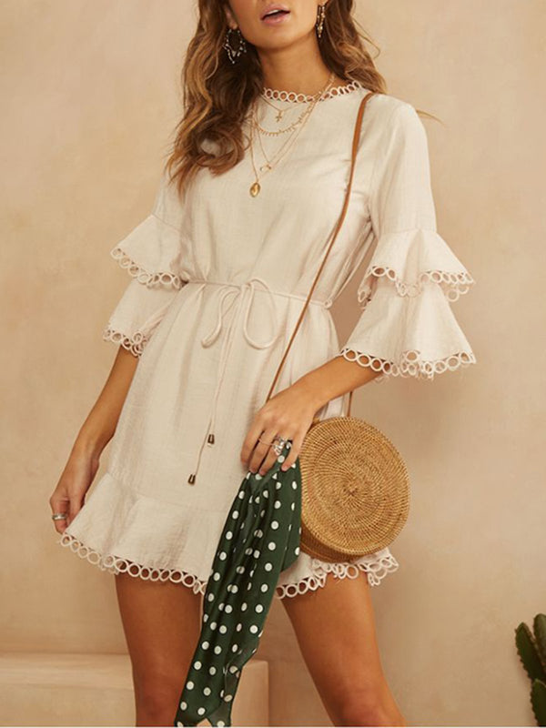 Holiday  A-Line Ruffled Solid Dress