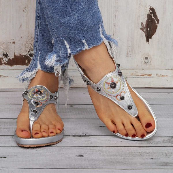 Comfy Sole Slip On Sandals Vintage Rivet Beach Sandals