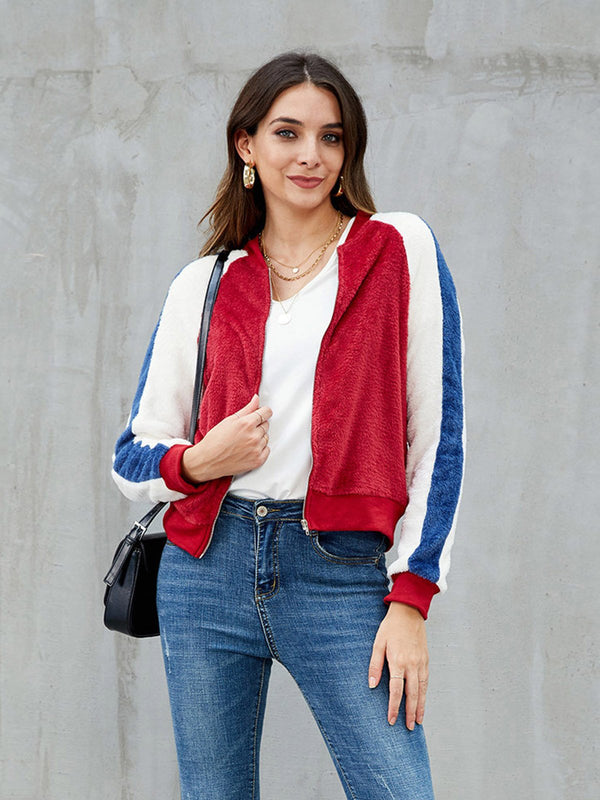 Red Casual Long Sleeve Outerwear