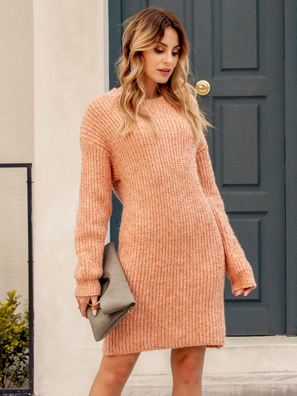 Women Crew Neck Solid Long Sleeve Dresses