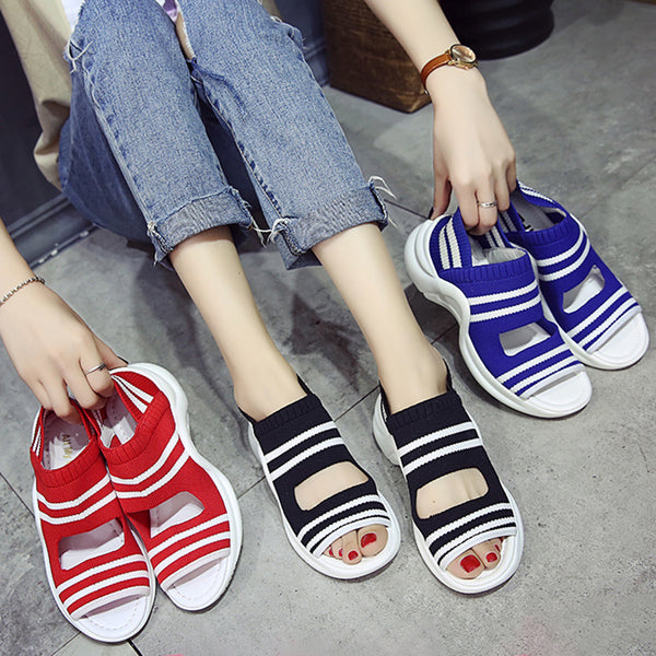 Women Knitted Non-Slip Contrast Color Stripes Sandals