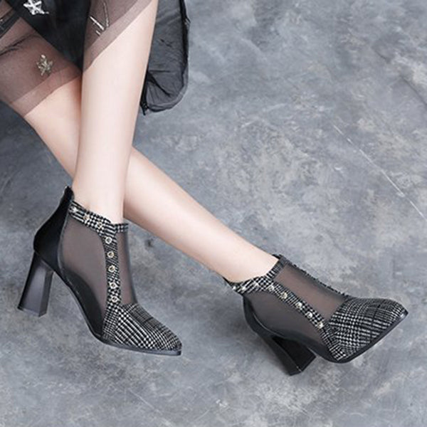 Rivet Embellished Semi Sheer Mesh Plaids Heels Women