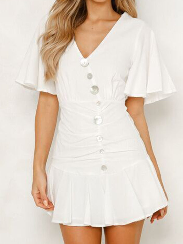 White Women Mini Boho Dresses Shift Daily Buttoned Dresses