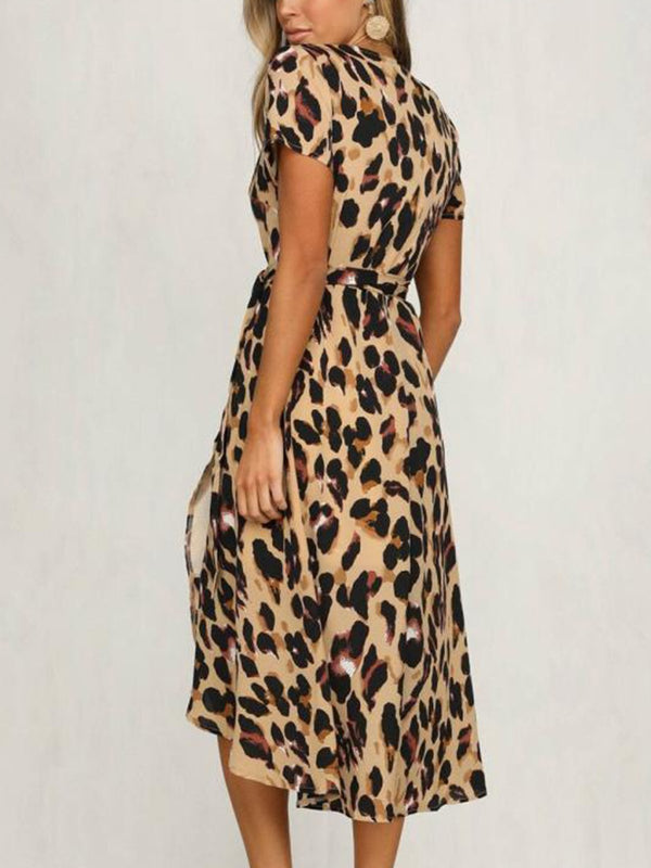 Sexy Leopard Print Strap Dresses Women's V-neck Short-sleeved Casual Dresses