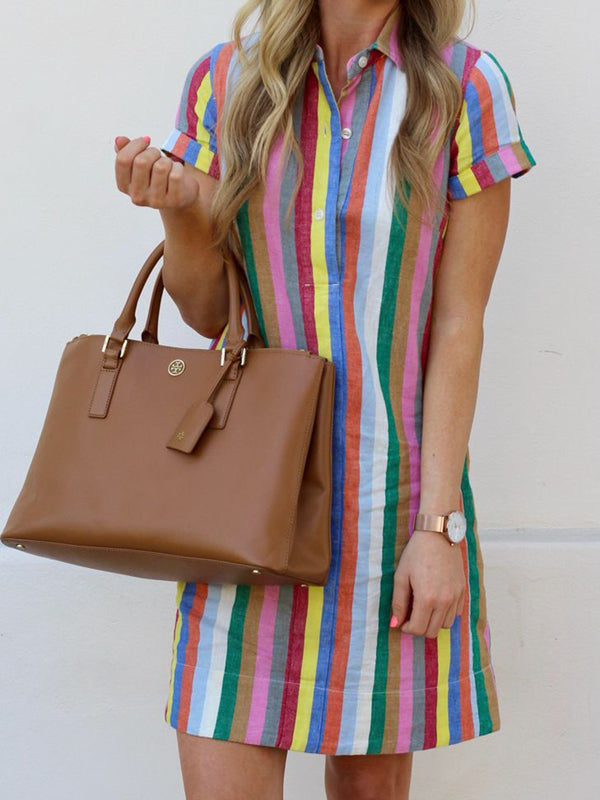 Shirt Collar Color Women Dresses Going Out Stripes Dresses