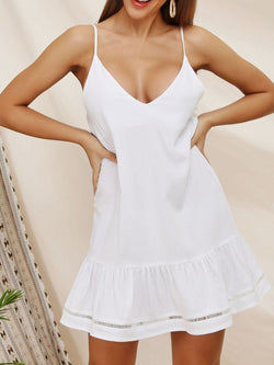 Women Spaghetti Mini White Dresses V Neck Shift Daily Paneled Plain Dresses